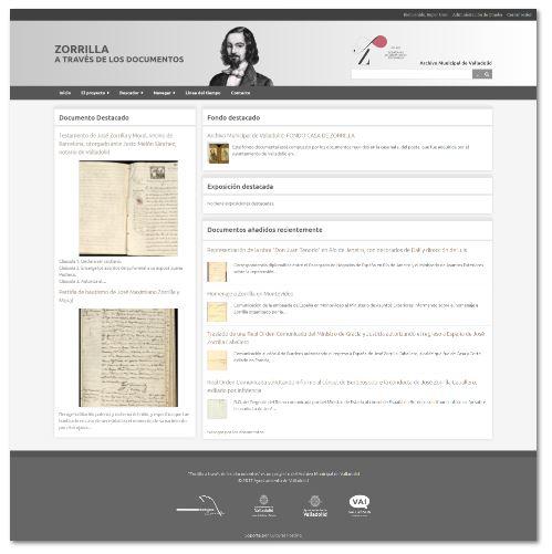 """Proyecto Web """"Zorrilla a través de los documentos"""""""