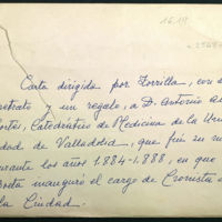 Carta de José Zorrilla al doctor Antonio Alonso Cortés