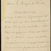 Carta de Manuel Tamayo y Baus dirigida al Marqués de Valmar