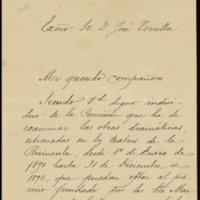 Carta de Manuel Tamayo y Baus, Secretario de la Real Academia Española, a José Zorrilla