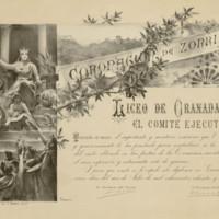 Diploma del Liceo de Granada agradeciendo a José de Zorrilla su contribución a la brillantez de las fiestas de su coronación