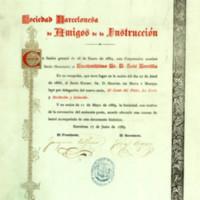 Título de socio honorario de la Sociedad Barcelonesa de Amigos de la Instrucción a favor de José Zorrilla