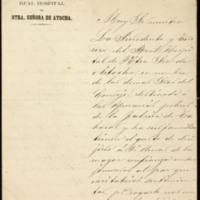Carta del Real Hospital de Nuestra Señora de Atocha a José Zorrilla