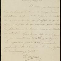 Carta del cartero que trae la correspondencia del exterior a José Zorrilla