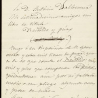 Carta de José Zorrilla a Antonio Valbuena