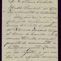 Carta de Emilio Ferrari a Moisés Carballo, alcalde de Valladolid