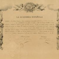 Título de académico de número de la Real Academia Española a favor de José Zorrilla, por fallecimiento de José Caveda y Nava