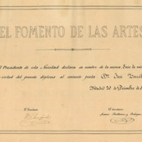 """Título de Socio de Mérito expedido por la sociedad """"El Fomento de las Artes"""" a favor de José Zorrilla"""