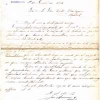 Carta de José Arimón y Cruz a Víctor Balaguer