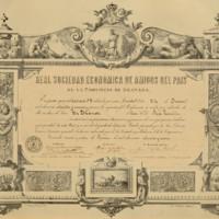 Título de socio de honor de la Real Sociedad Económica de Amigos del País de la Provincia de Granada expedido en favor de José Zorrilla