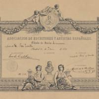 Asociación de Escritores y Artistas Españoles. Título de socio de número a favor de D. José Zorrilla