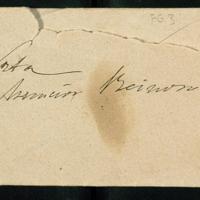 Tarjeta de visita de José Zorrilla a Ascensión Reynoso con una nota sobre su salud