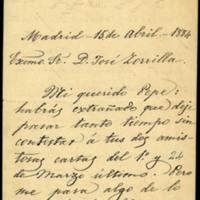 Carta de Leopoldo Augusto de Cueto, Marqués de Valmar, a José Zorrilla