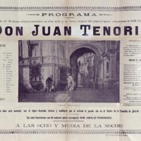 """Programa de la representación de """"Don Juan Tenorio"""" en el Teatro Calderón de Valladolid"""