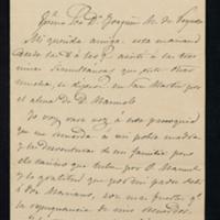 Carta de José Zorrilla a Joaquina Mateo e Ibarra, sobre la muerte de su marido