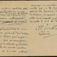 Borrador de una carta de José Zorrilla a Isaac Peral