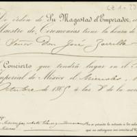 Tarjeta de invitación del emperador Maximiliano I de México