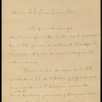Carta de Manuel Tamayo y Baus a José Zorrilla