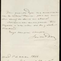 Carta de José María Díaz a José Zorrilla