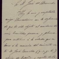 Carta de Luis Fernández Orbegozo al alcalde José de Hornedo Huidobro