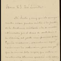 Carta del Duque de Rivas a José Zorrilla