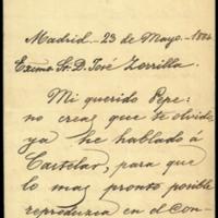 Carta de Leopoldo Augusto del Cueto, marqués de Valmar, a José Zorrilla