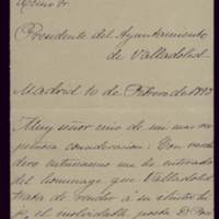 Carta de Gaspar Núñez de Arce al alcalde José de Hornedo Huidobro