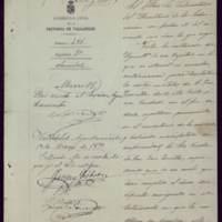 Notificación de Román Martín, gobernador civil de Valladolid, al alcalde José de Hornedo Huidobro