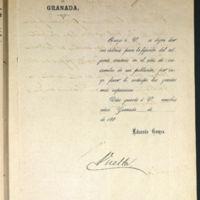 Carta de Eduardo Gómez Ruiz, alcalde de Granada, al alcalde de Valladolid