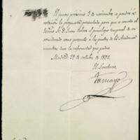 Comunicación de la Real Academia Española a José Zorrilla