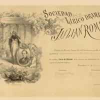 Título de Socio de Mérito de la Sociedad Lírico Dramática Julián Romea, de Barcelona