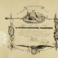 Título de socio honorario de la Sociedad Arqueológica Tarraconense a favor de José Zorrilla