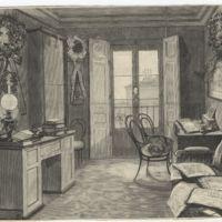 Este dibujo de la época, obra de Comba, muestra el gabinete de trabajo del poeta Zorrilla, donde escribió sus últimas composiciones