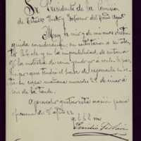 Carta de Emilio Ferrari al presidente de la comisión de Estadística, Instrucción y Gobierno [Pedro Vaquero Concellón]