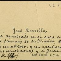 Tarjeta de visita de José Zorrilla con nota para Juan Ruiz Pino y su mujer Nieves