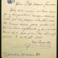 Carta de José Zorrilla a Antonio Cánovas del Castillo