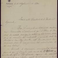 Borrador de invitación del alcalde Mariano González Lorenzo al presidente de la Real Academia Española