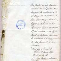 Carta de José Ferrán, secretario de la Sociedad Lírico Dramática Zorrilla, a Víctor Balaguer