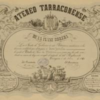 Título  de socio de mérito del Ateneo Tarraconense de la Clase Obrera, expedido a nombre de José Zorrilla