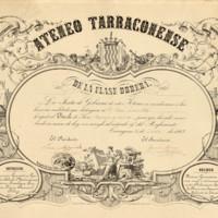 Título de socio honorario de mérito expedido por el Ateneo Tarraconense de la Clase Obrera expedido a favor de José Zorrilla