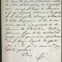 Minuta de carta de Ramón María Pérez Carrasco, alcalde de Valladolid, a José Zorrilla
