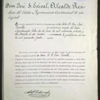 Copia del título de cronista de Valladolid expedido a favor de José Zorrilla
