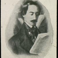 """Reproducción del retrato de Zorrilla que figura en la obra """"Los poetas contemporáneos. Una lectura de Zorrilla en el estudio del Pintor"""", de Antonio María Esquivel (1846)"""