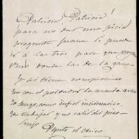 Nota, en forma de quintillas, de José Zorrilla a Patricia Luis Redondo