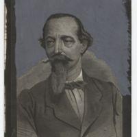 Zorrilla en 1866 a los 50 años. Dibujo de Ortego. De El Cascabel. Fotografía  Rivero