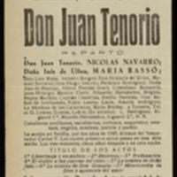 """Hoja publicitaria de la representación de la obra """"Don Juan Tenorio"""", de José Zorrilla, en el Teatro Lope de Vega de Valladolid"""
