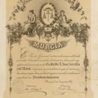 Título de presidente honorario de la sociedad Belluga de Murcia a favor de José Zorrilla y del Moral