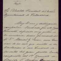 Carta de Mariano Polo, alcalde de Burgos, al alcalde de Valladolid [Pedro Vaquero Concellón]