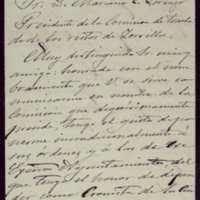 Carta de Emilio Ferrari a Mariano González Lorenzo, presidente de la comisión para el traslado de los restos de Zorrilla