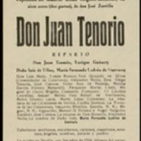"""Hoja publicitaria de la representación de la obra """"Don Juan Tenorio"""" de José Zorrilla en el Teatro Lope de Vega de Valladolid, a cargo de la compañía de María Fernanda Ladrón de Guevara"""